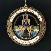 "The 2017 ornament, ""The Fountain at Monument Walk"" ornament represents the fountain location at the base of Monument Walk."