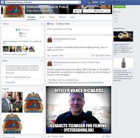 Screenshot from Petersburg Police Department FB Page