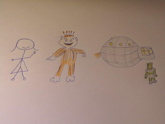 Dibujo cutre con hombres palo: Yupi, Astraco y yo junto a la nave espacial de Yupi.