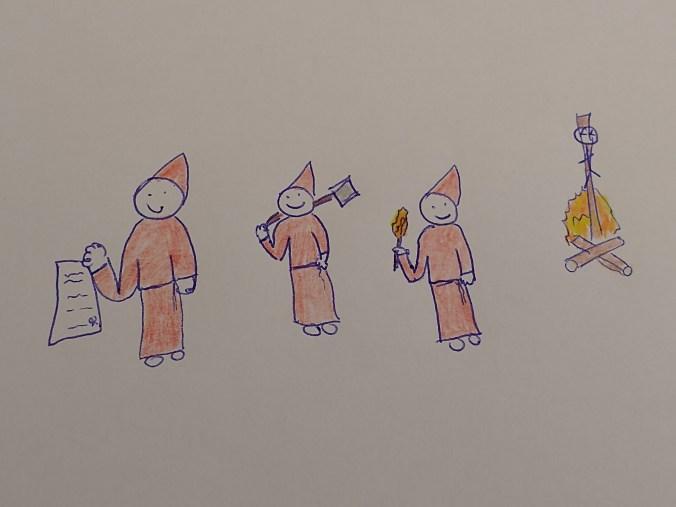 Dibujo absurdo de varios inquisidores palo sonrientes después de quemar a un señor