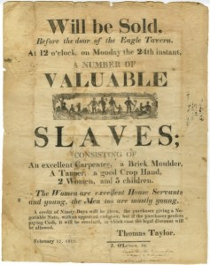 Eagle Tavern Broadside showing sale of slaves