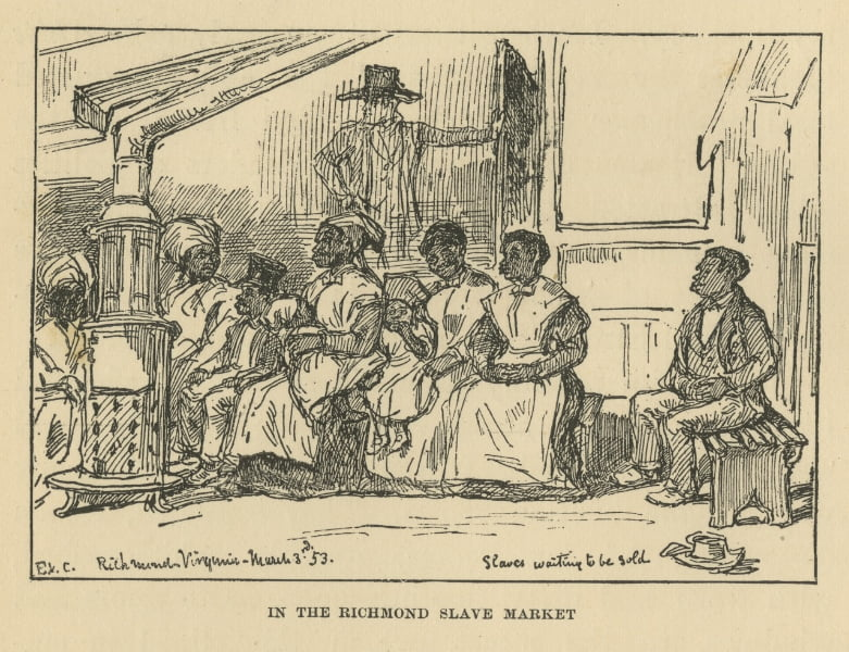 Slaves waiting to be sold in the Richmond Slave Market 3 March 1853