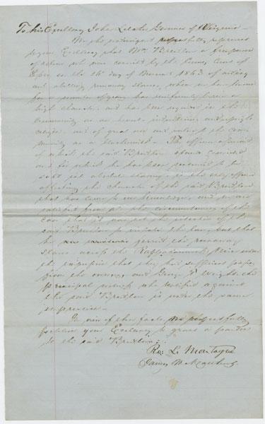 Education from LVA: William Breedlove Petition