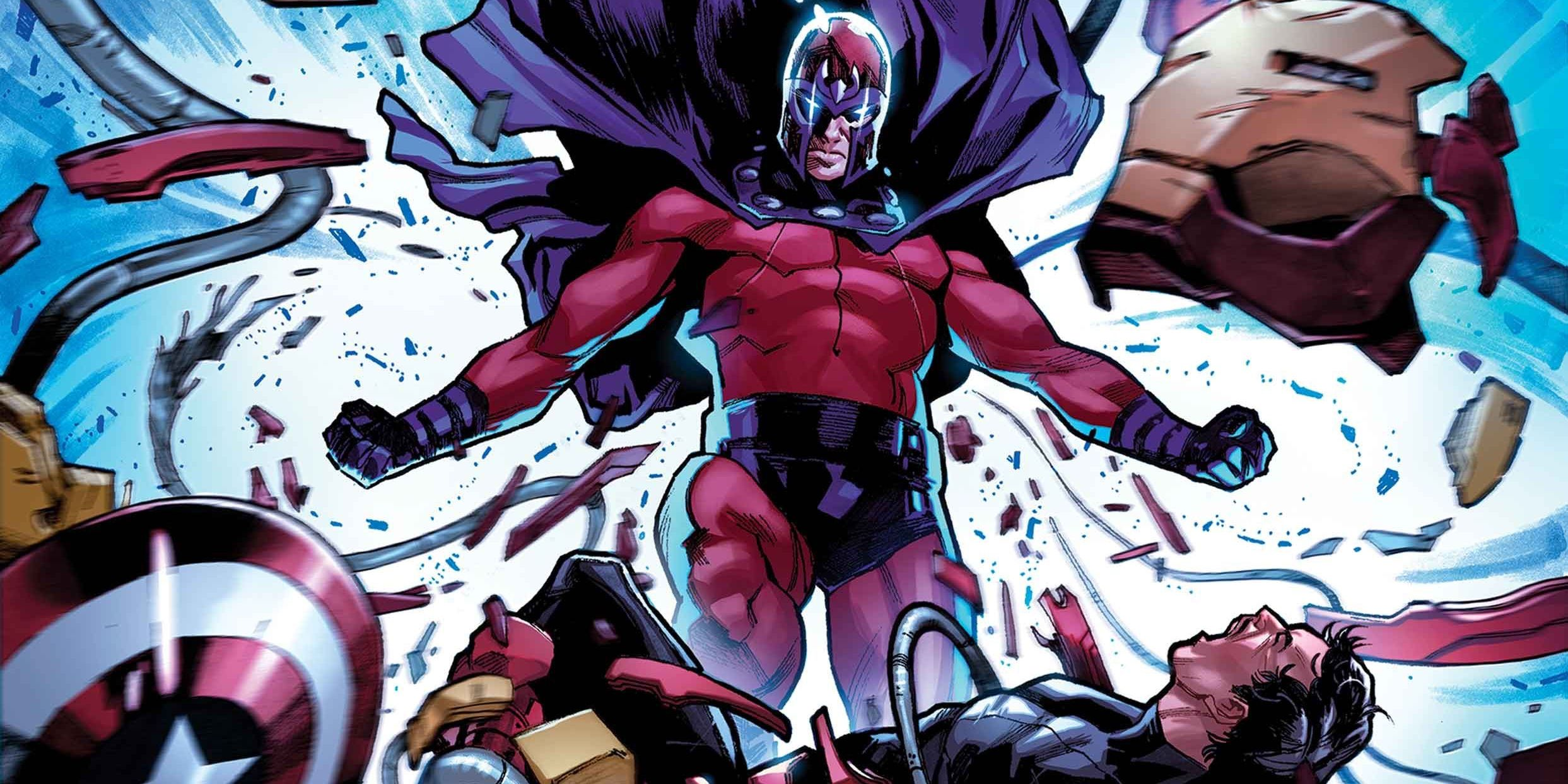 Magneto tears the armor right off of Iron Man.