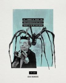 LOUISE BOURGEOIS. Collage_papel verjurado blanco roto_30x24cm/18x13cm. V.Rivas. #ForSale