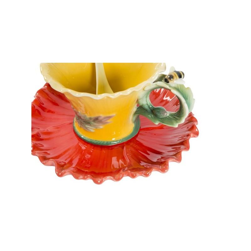 Tazzina tazza caff fiore ape petali piattino porcellana