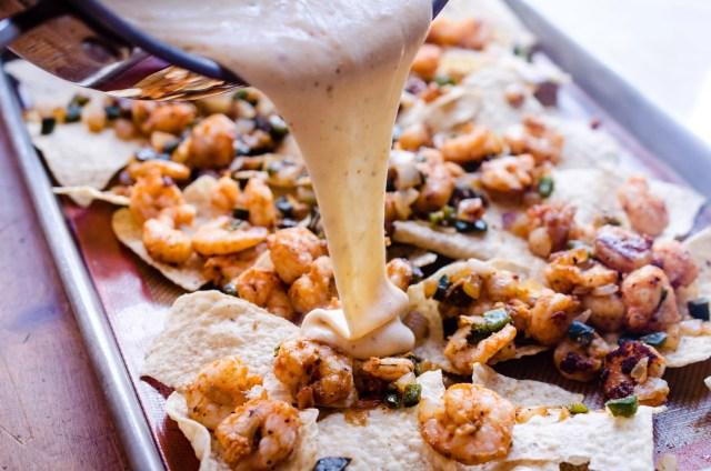 Shrimp Nachos with Creole Queso on www.virginiawillis.com
