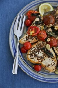 Read more about the article Swordfish Steaks au Poivre with Tomatoes and Basil