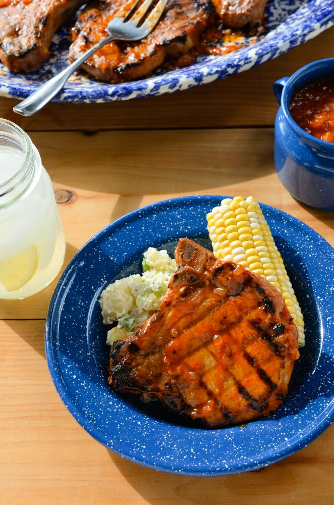 Sweet Georgia Peaches: Pork Chops with Peach BBQ Sauce