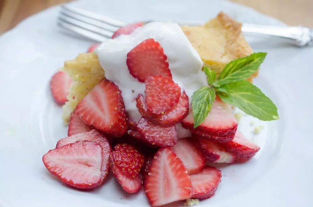 Cornmeal Cake with Strawberries and Vanilla Cream