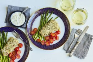 Sheet Pan Supper: Panko Crusted Fish Filet with Asparagus and Tomatoes