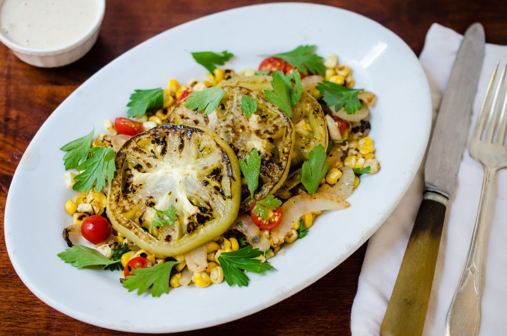 Warm Griddled Green Tomato Salad