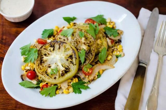 Warm Griddled Green Tomato Salad
