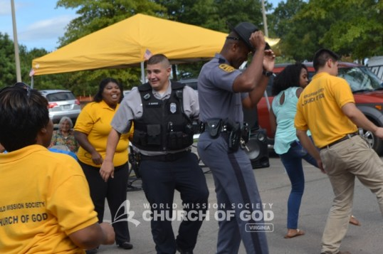 The police officers got their groove on during the electric slide competition.