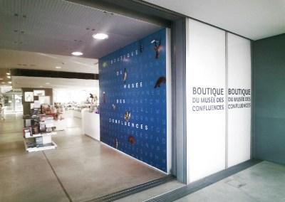 Décors de la boutique du Musée des Confluences