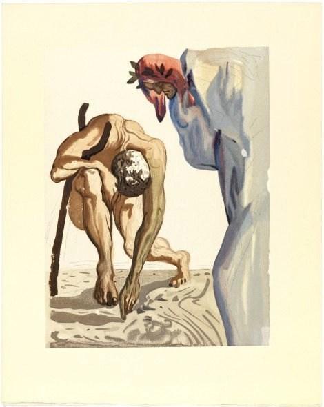 Salvador Dalí I prìncipi della valletta fiorita, Purgatorio, vol. I, canto VII (1959-1963, fotoincisione in rilievo con trasposizione xilografica su carta, Figueres, Fundació Gala-Salvador Dalí, photo credits: arslife.com)