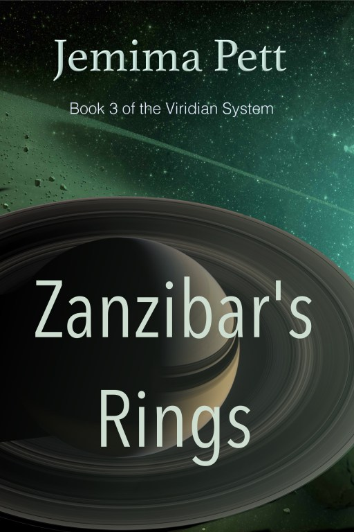 Zanzibar's Rings first draft. A saturn-like planet covers the lower foreground against a background of Viridian coloured space