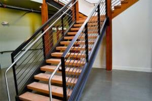 Floating Wood Stair Treads Viridian Wood | Solid Wood Stair Treads | Stairway | Commercial | Standard Length 48 | Domestic Timber Stair | Stainless Steel Anti Slip Stair