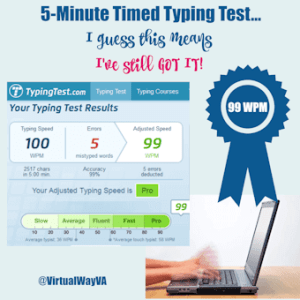 99 WPM 5-Minute Timed Typing Test Results
