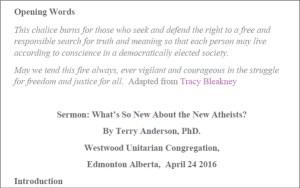 Atheist Sermon text