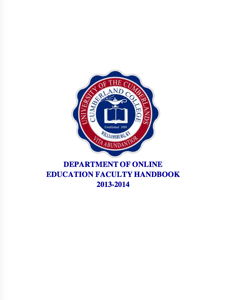 Univesrity of the Cumberlands, Department of Online Education Faculty Handbook Icon