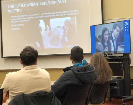 U-M students in Islamic Mysticism talk with their peers at St. Petersburg State University in Russia.