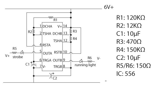 The running lights/navigation strobe circuit