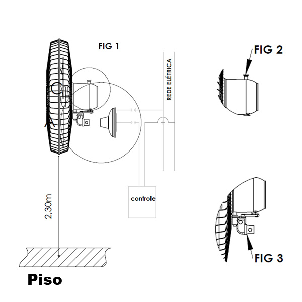 Ventilador Oscilante de Parede 60cm Motil