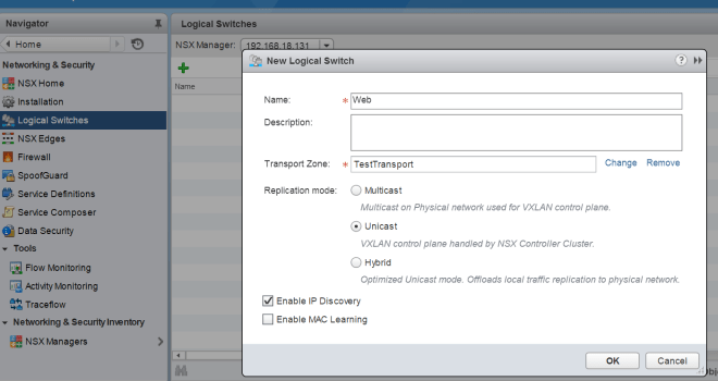 VMware NSX Logical Switch and DLR config GUI-API