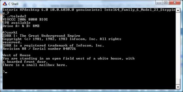 Toledo2 running on Vista's SUA Unix emulation.
