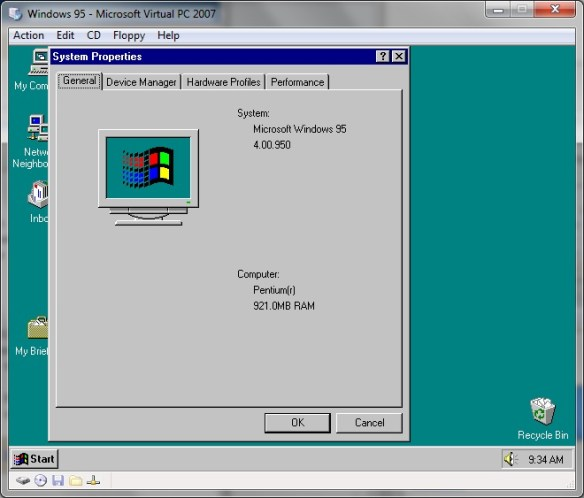 Windows 95 921MB of ram