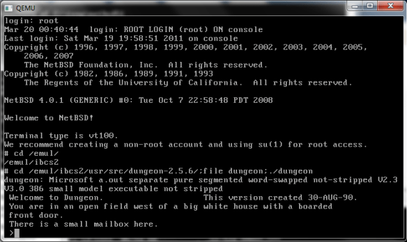 Qemu 0.14.0 NetBSD 4.0.1 running dungeon