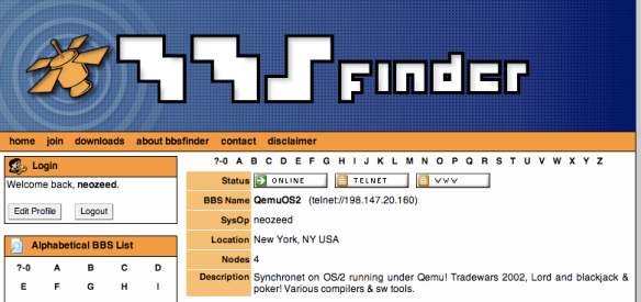 BBS Finder screen