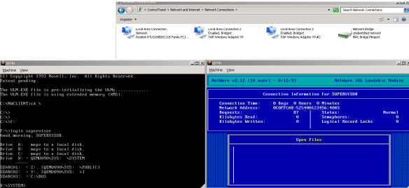 Logging in from the MS-DOS VM to the NetWare 3.12 VM