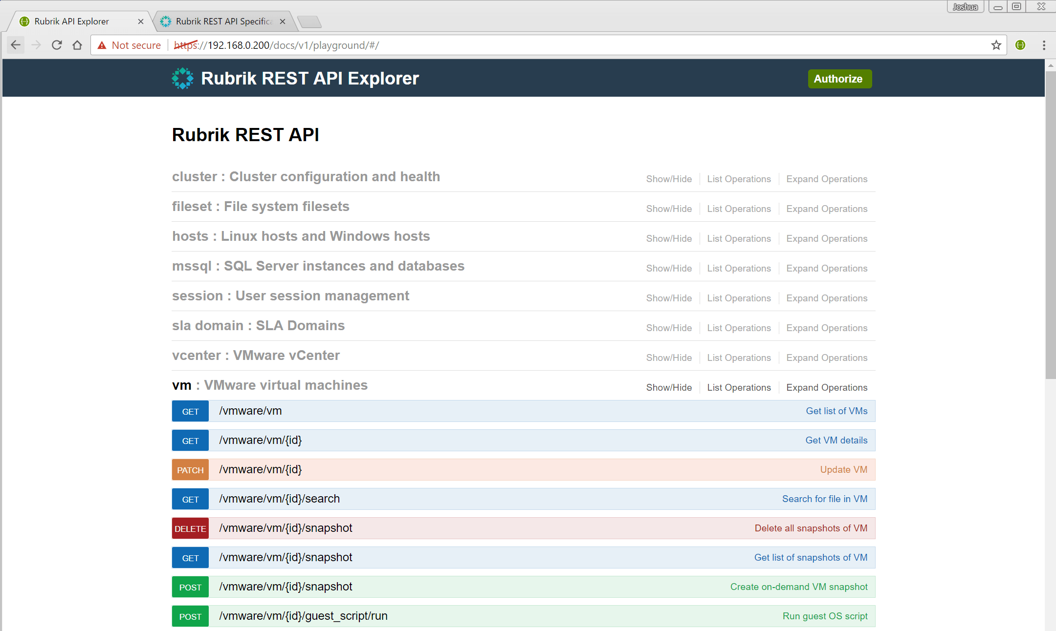 Introduction to Rubrik REST APIs using PowerShell & Swagger