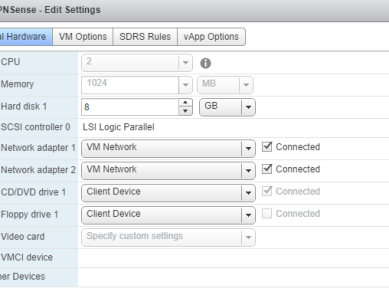 OPNsense VM hardware settings