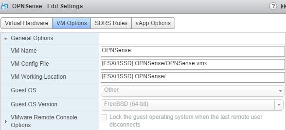 OPNsense VM Options