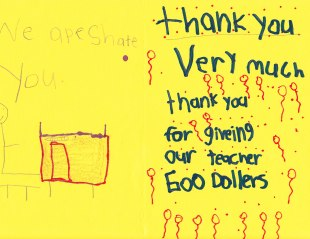 Thank you from Ms. V's Student