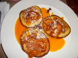 pumpkin pancakes with spiced chili pecan butter at the Breslin