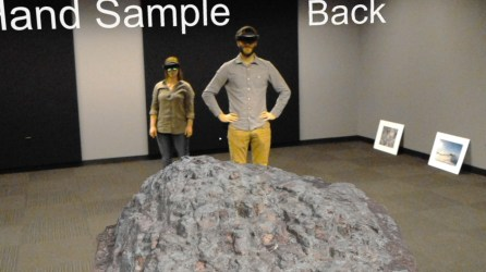 Graduate students Roger Bryant and Joss Haye test out a virtual outcrop