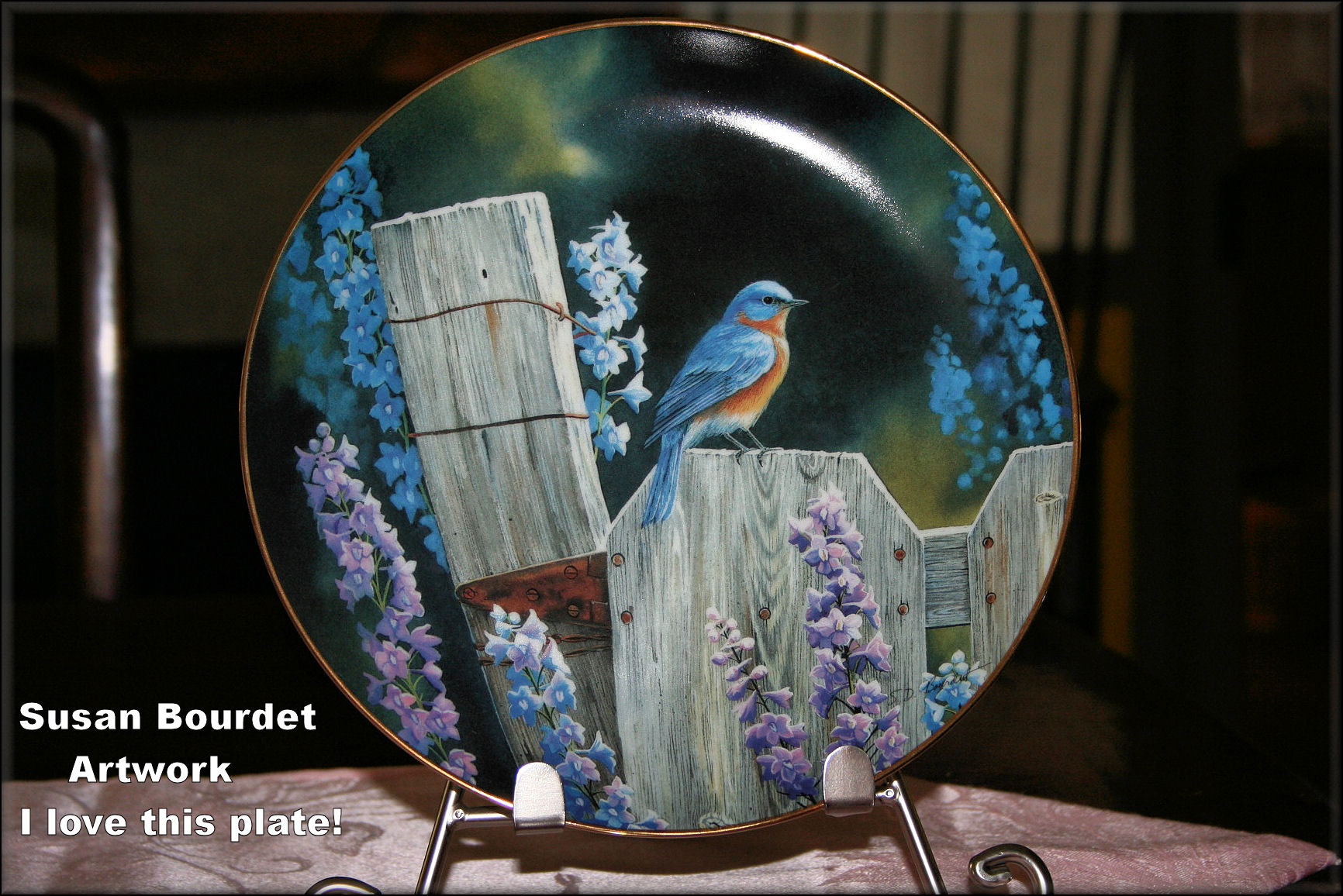 I absolutely love this artist. This plate graces our guest room which we call, The Blue Room. Once you get a bluebird trail, you'll be hooked on the real birds and beautiful things all bluebirds, like this plate with bluebird artwork!