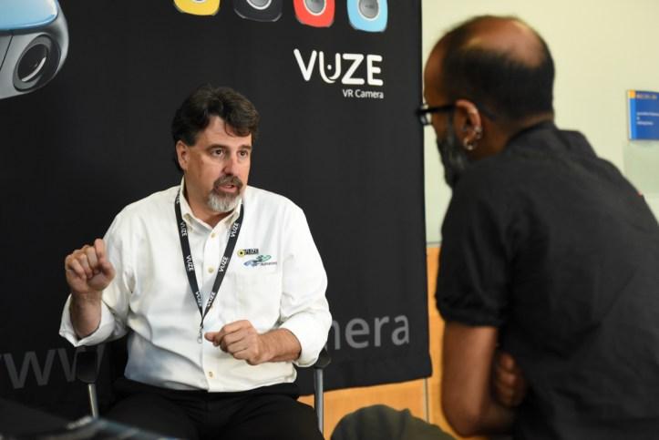 Jeff Miller of HumanEyes' Vuze Camera speaks with Richard Lapham at VRTO 2017