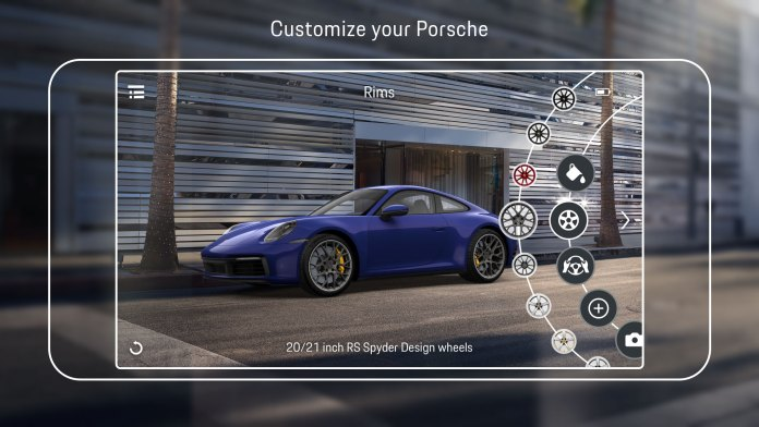 Using the Porsche Code,customers can upload their configuration from the Web Configurator into the app