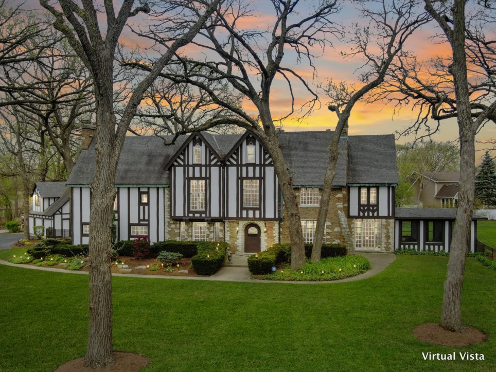 aerial twilight of historic home