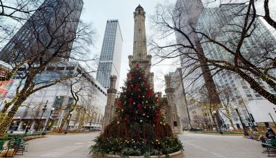 Chicago's Water Tower with a Christmas Tree 3D Model