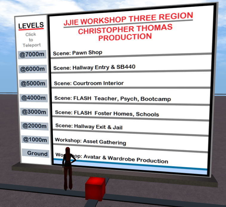 Christopher Thomas Machinima Production Pipeline Levels Teleport Board & Red Landmark Giver