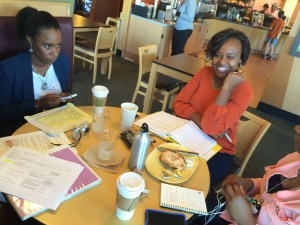 Planning at Panera (Left to Right: Camille Moore, Ann Ondieki)