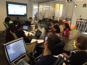 September 30, 2015: Group Meeting 7; Interns listen to Gwenette as she explains Machinima Script.