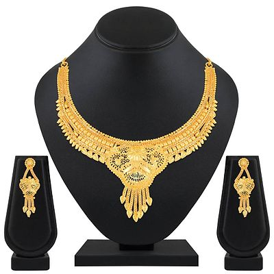Fashionable 1 Gram Gold Plated Choker Style Brass Necklace Set For Women