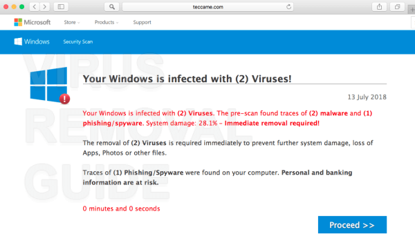 Your Windows is infected with (2) Viruses!